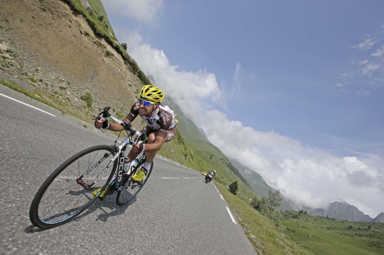 AG2R-La Mondiale team rider Christophe Riblon of France cycles during the145.5km 18th stage of the Tour de France cycling race between Pau and Hautacam in the French Pyrennes mountains, July 24, 2014. (Jacky Naegelen/Reuters)