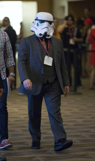 """Cast member Jack Black wears a Stormtrooper helmet as he arrives at a panel for the movie """"Goosebumps"""" during the 2014 Comic-Con International Convention in San Diego, California July 24, 2014. (Mario Anzuoni/Reuters)"""