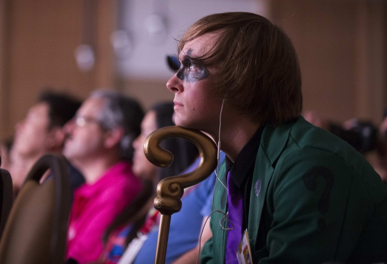 "Attendee Eric Gorton, dressed like the character ""The Riddler"", attends a panel for the movie ""Goosebumps"" during the 2014 Comic-Con International Convention in San Diego, California July 24, 2014. (Mario Anzuoni/Reuters)"