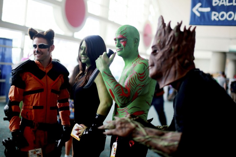 Costumed attendees dressed as characters from Guardians of the Galaxy are seen during the 2014 Comic-Con International Convention in San Diego, California July 24, 2014. (Sandy Huffaker/Reuters)