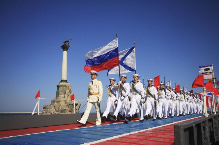 Russian sailors march during celebrations to mark Navy Day in the Crimean port of Sevastopol July 27, 2014. (Reuters)