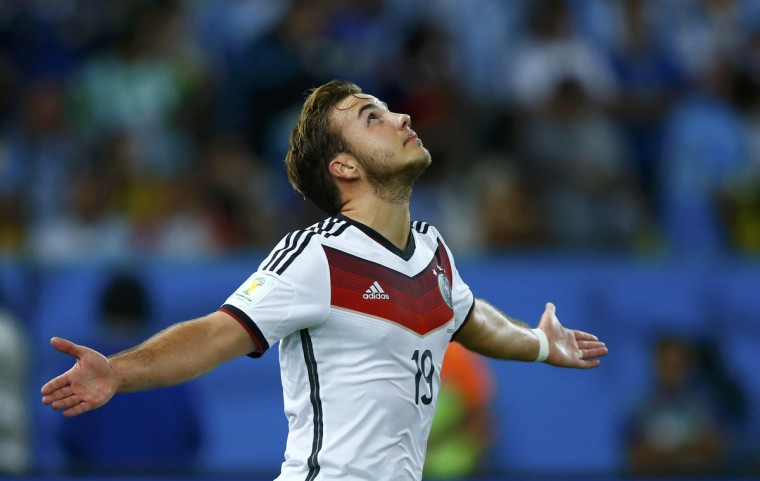 Germany's Mario Goetze celebrates after scoring against Argentina during extra time in their 2014 World Cup final at the Maracana stadium in Rio de Janeiro July 13, 2014. (Eddie Keogh/Reuters)