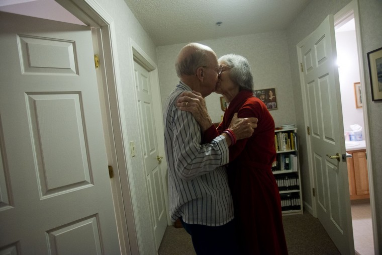 Ted Buckley and Jan Buckley share a goodnight kiss before returning to their separate bedrooms for the night. They sleep separately because of Ted's neurological problem. Ted is unable to sleep in a room below a certain temperature, while Jan prefers the room to be a cooler temperature. Rachel Woolf/Baltimore Sun