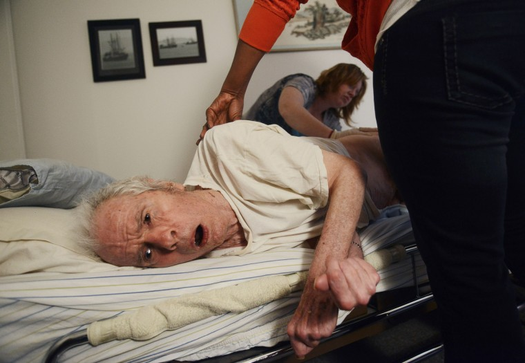 Aides provided by the Longview community come into the Barnard's apartment and help Eleanor Barnard with Roger Barnard. Particularly, they will help get him in and out of bed, or if he is unable to get out of bed, they will help change his diapers. Rachel Woolf/Baltimore Sun