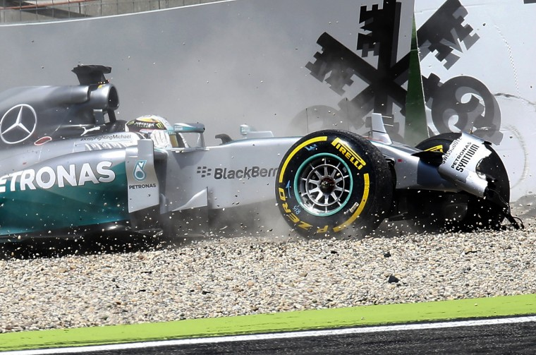 Mercedes Formula One driver Lewis Hamilton from Great Britain crashes his car during the qualifying of the German F1 Grand Prix at the Hockenheim racing circuit. The German Grand Prix will take place on Sunday, July 20. (Ralph Orlowski/Reuters)