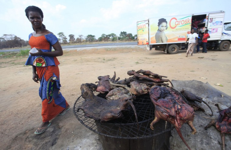 A woman walks past dried bushmeat near a road of the Yamoussoukro highway on March 29, 2014. Bushmeat - from bats to antelopes, squirrels, porcupines and monkeys - has long held pride of place on family menus in West and Central Africa, whether stewed, smoked or roasted. Experts who have studied the Ebola virus from its discovery in 1976 in Democratic Republic of Congo, then Zaire, say its suspected origin - what they call the reservoir host - is forest bats. Links have also been made to the carcasses of freshly slaughtered animals consumed as bushmeat. (REUTERS/Thierry Gouegnon)