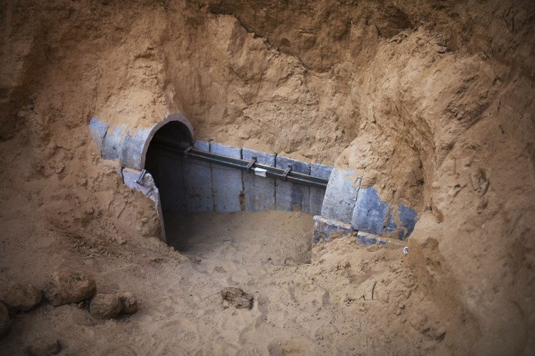 The entrance to a tunnel exposed by the Israeli military is seen on the Israeli side of the Israel-Gaza border on March 27, 2014. (REUTERS/Amir Cohen)