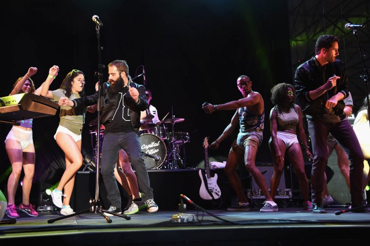 Sebu Simonian and Ryan Merchant of Capital Cities performs onstage at the Drop Your Pants and Dance for Underwareness Concert, hosted by Depend on August 6, 2014 in New York City. ( Jamie McCarthy/Getty Images for Depend)