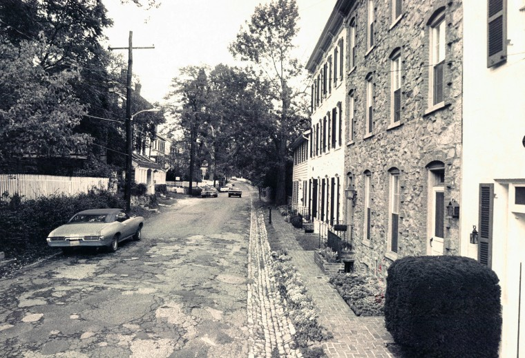 Oct. 6, 1977: A quiet street in Dickeyville, Md., an old mill community that has kept its charm in the western part of Baltimore, not to be confused with the facade some isolated small town. (William Holtz/Sun file)