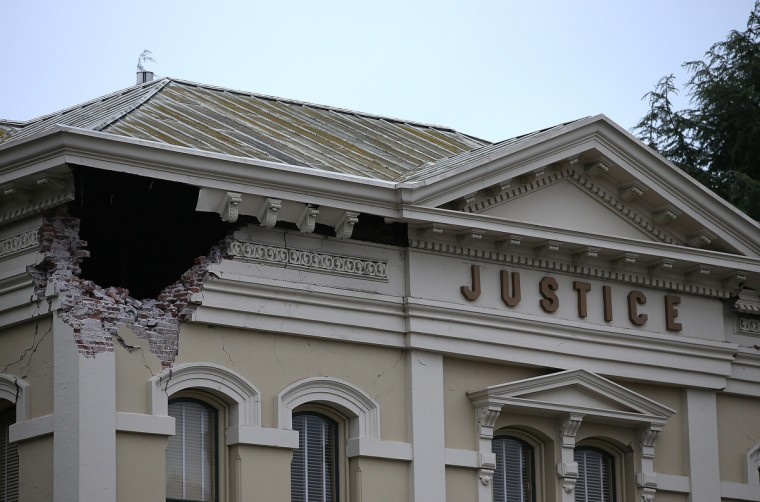 A section of the Napa County Court house is seen damaged following a reported 6.0 earthquake on August 24, 2014 in Napa, California. A 6.0 earthquake rocked the San Francisco Bay Area shortly after 3:00 am on Sunday morning causing damage to buildings and sending at least 70 people to a hospital with non-life threatening injuries. (Justin Sullivan/Getty Images)