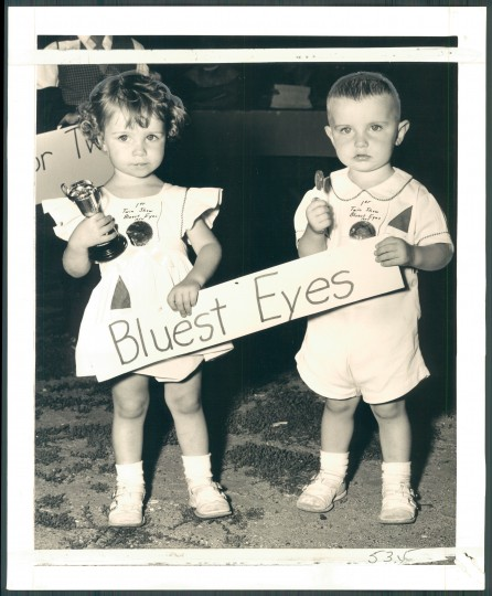 Bluest eyes winners, Barbara and Tommy Burke, 2 years old. (Sun photographer Richard Stacks/August 5, 1954)
