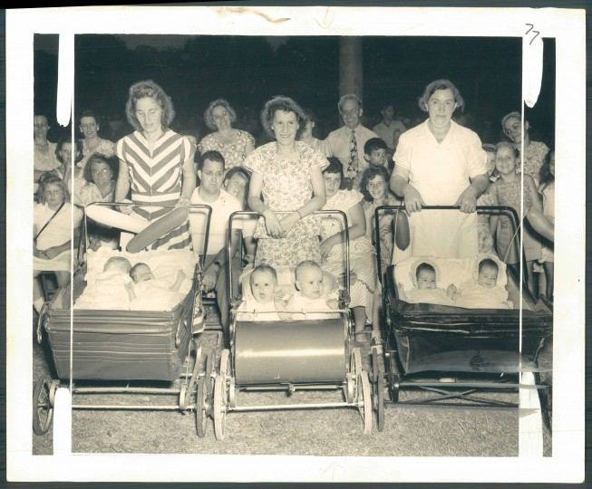 Janie and Randolph Dabney, and mother Mrs. Linwood Dabney; Sharon and Garry Saffer and mother, Mrs. Marie Saffer; Shirley Ann and Charlotte Rose Rehder and grandmother Mrs. Anna Harting. (Sun photographer Joshua S. Cosden/August 11, 1949)
