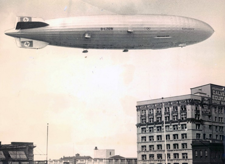 This picture, taken from atop the old Sun Building at Baltimore and Charles Streets, shows the Hindenburg, the German showpiece lighter-than-air craft, making a flight over Baltimore. Like its predecessor, the Graf Zeppelin, it was designed for 'round-the-world passenger (and some light freight) flights. (Baltimore Sun file)