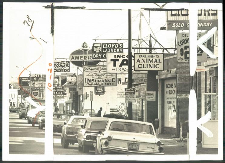 The heavily commercial Pimlico neighborhood, seen in Feb. 1972. (Baltimore Sun file photo)