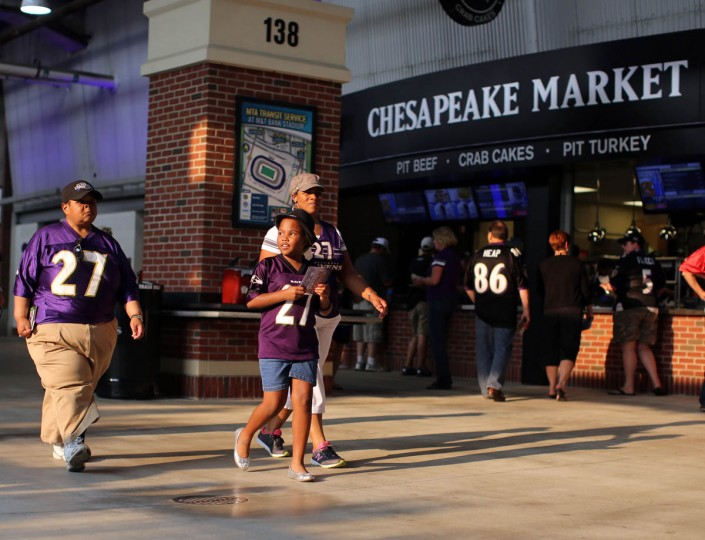 Ravens fans enter the stadium as the sun begins to lower before the Baltimore Ravens take on the San Francisco 49ers at M&T Bank Stadium in Baltimore, MD on Thursday, August 7, 2014. (Al Drago/Baltimore Sun)