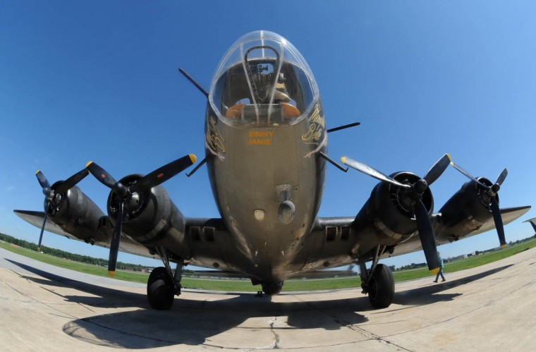 """The """"Movie Memphis Belle,"""" a Boeing B-17 restored WWII bomber, is a living museum that's flying the Baltimore skies via the Martin State Airport. (Algerina Perna/Baltimore Sun)"""