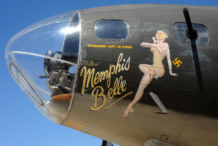 The paint scheme used in the movie is the same paint scheme that was on the original Memphis Belle which completed 25 missions in WWII. (Algerina Perna/Baltimore Sun)