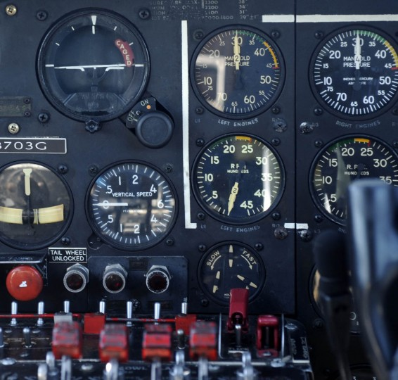 """This is a section of the instrument panel used to fly the """"Movie Memphis Belle."""" (Algerina Perna/Baltimore Sun)"""