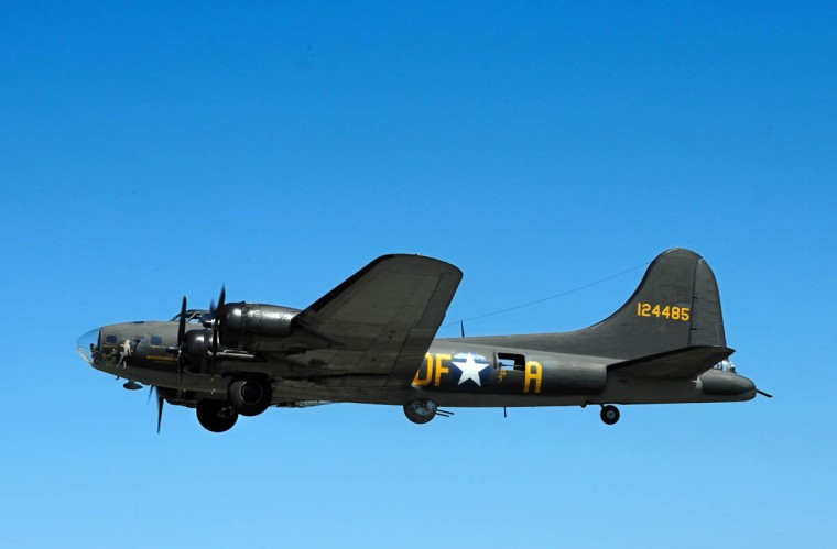 """The normal range of the B-17 bomber was 1,850 miles, and can be extended with additional fuel. Often called """"The Flying Fortress,"""" the four-engine B-17 bomber with a 10-crew capacity was equipped with 13 machine guns and an 8,000 to17,600-pound bomb load. The public can watch the aircraft fly at no charge this Saturday and Sunday, or take a 1/2 hour flight into history for $450 from10am to 5pm. (Algerina Perna/Baltimore Sun)"""