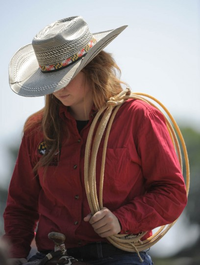 Olivia Hickman of Parkside H.S. walks around during the rodeo event held by the Maryland High School Rodeo Association at the Howard County Fair. (Lloyd Fox/Baltimore Sun)