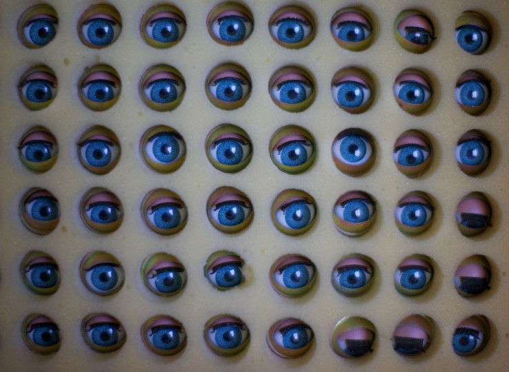 Large dolls eyes are pictured nestled in foam before being used in repaired customers dolls at Sydney's Doll Hospital. (Jason Reed/Reuters)