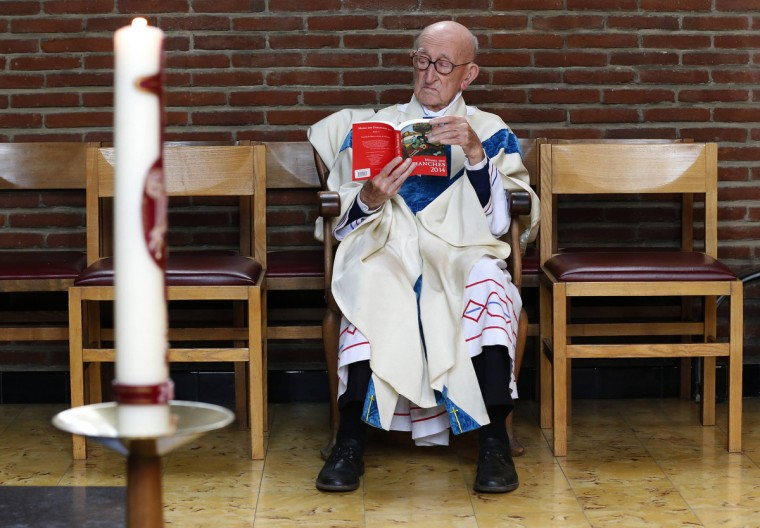 "Father Jacques Clemens reads at a mass at St. Benoit church in Nalinnes. Clemens, who celebrated his 105th birthday on July 11, may be the world's oldest living priest who still holds a regular service, the Belgian Catholic Church said. Clemens was born in The Hague, Netherlands in 1909 and later moved to Belgium where he was ordained a priest in 1936. Seventy-eight years later, he still holds a regular mass in his parish in the village of Nalinnes, in southern Belgium, in front of 80 faithful. ""I used to make the service in a barn and in a cellar before the St. Benoit church was built in 1957,"" he said. When he was about to retire at the age of 75, the local bishop asked him to remain in service until they found a successor. Forty years later, Clemens is still in his job and nobody is there to succeed him. Clemens said he was happy to continue as long as his health permitted it. Waking up every day at 0530 and going to bed at 2100, Father Clemens believe he owes his long life to a strict routine. ""I always eat at the same hour every day,"" he said. Everyday at 1100, Clemens drives his car for a few kilometres to the village of Gerpinnes to share a lunch with other members of the congregation. (Yves Herman/Reuters)"