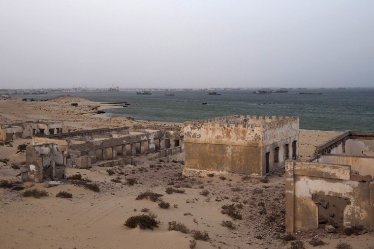 An abandoned colonial military base is seen next to the port of Nouadhibou June 25, 2014. (Joe Penney/Reuters)
