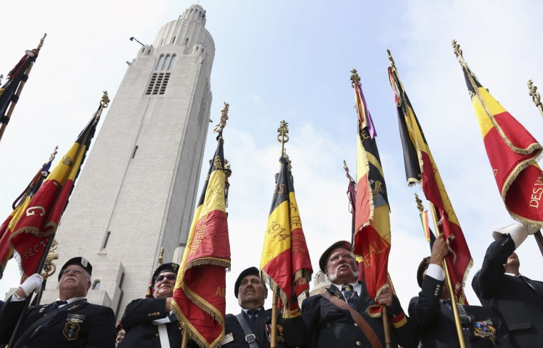 Veterans attend a ceremony at the Cointe Inter-allied Memorial, commemorating the 100th anniversary of the outbreak of World War I (WWI) in Liege August 4, 2014. (Francois Lenoir/Reuters)
