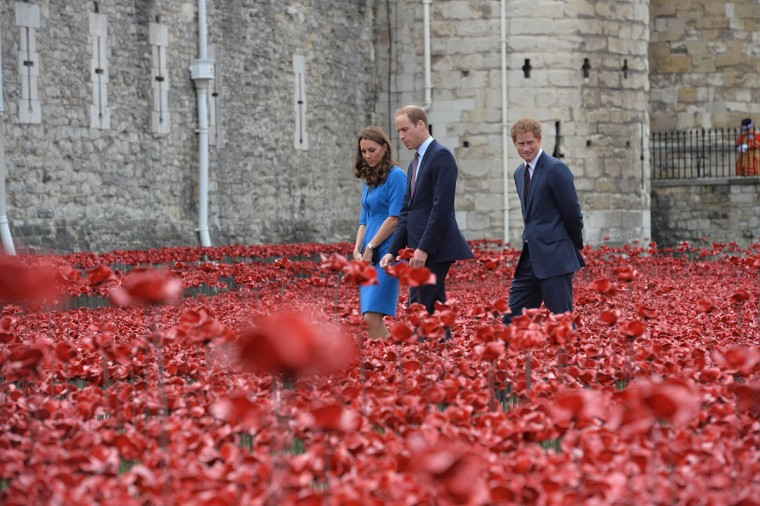 Britain's Prince William (C), Catherine, Duchess of Cambridge and Prince Harry look at the Tower of London's 'Blood Swept Lands and Seas of Red' poppy installation to commemorate the 100th anniversary of the outbreak of World War One (WW1), in London August 5, 2014. (REUTERS/John Stillwell)