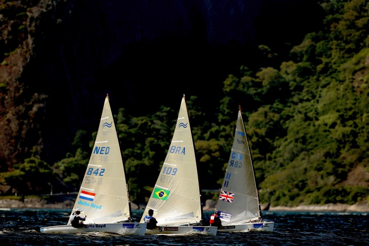 Boats sail as part of the Aquece Rio International Sailing Regatta - Rio 2016 Sailing Test Event in Rio de Janeiro, Brazil. (Matthew Stockman/Getty Images)
