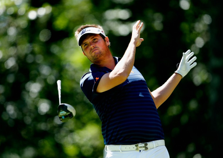 Jeff Overton loses his driver as he tees off on the second hole during the second round of the Deutsche Bank Championship at the TPC Boston in Norton, Massachusetts. (Jim Rogash/Getty Images)