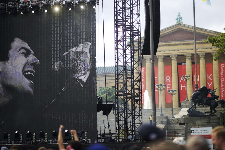 Jesse Rutherford of the band The Neighbourhood is projected onto the main stage screen during their set at the Made in America festival, with the Philadelphia Art Museum as a backdrop. The two day music festival is organized by Jay-Z and will have a twin concert in Los Angeles. (Mark Makela/Reuters)