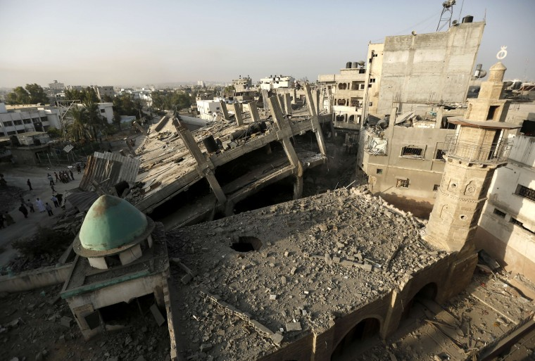 A general view shows damage at the historical al-Omeri mosque in Jabalia in the northern Gaza Strip. At least 91 Palestinians were killed and another 350 injured in Israeli attacks, medics said, as a hoped-for ceasefire disintegrated with the apparent capture of an Israeli soldier. (Mohammed Abed/AFP-Getty Images)