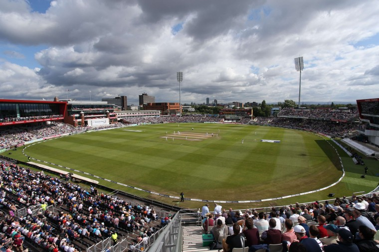 Play gets underway on day four of the fourth cricket Test match between England and India at Old Trafford in Manchester. (Lindsey Parnaby/AFP-Getty Images)