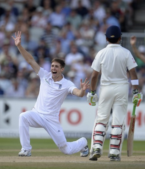 England's Chris Woakes appeals and dismisses India's Murali Vijay (not pictured) during the fourth cricket test match against England at Old Trafford cricket ground in Manchester. (Philip Brown/Reuters)