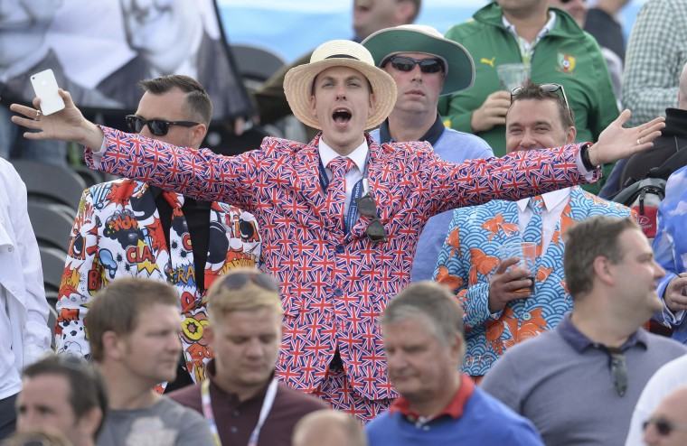 A spectator reacts after England won the fourth cricket test match against India at Old Trafford cricket ground in Manchester, England. (Philip Brown/Reuters)