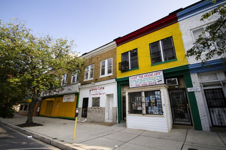 Storefronts after hours in the 5200 block of Park Heights Avenue. (Kalani Gordon/The Baltimore Sun/August 2014)