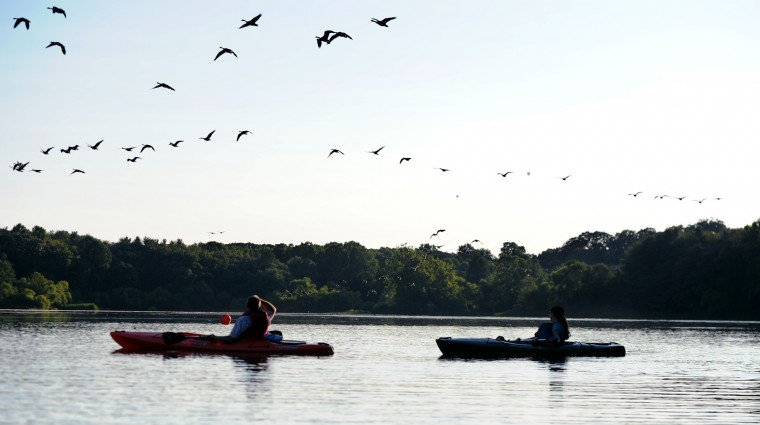 Kayakers watch a flock of geese fly across the Piney Run Reservoir in Sykesville during a sunset tour, Saturday, Aug. 16, 2014. (Jon Sham/BSMG)