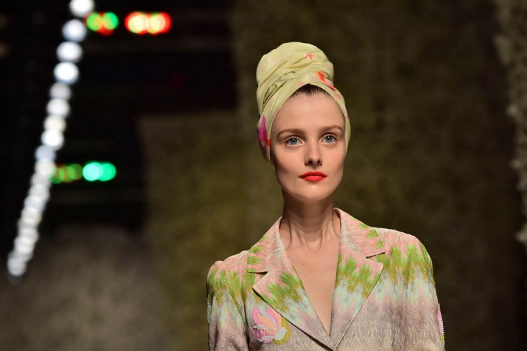 A model presents a creation from the Missoni collection during the 2015 Spring / Summer Milan Fashion Week on September 19, 2014 in Milan. (Giuseppe Cacace/Getty Images)