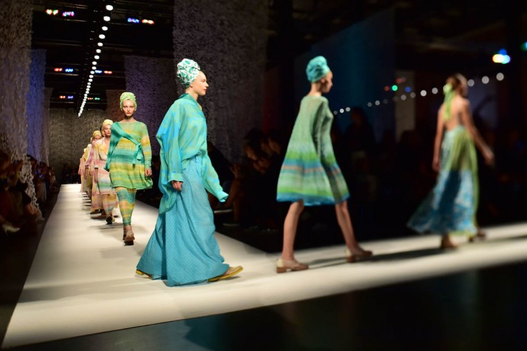 A picture taken with a Tilt and Shift lens shows models presenting creations from the Missoni collection during the 2015 Spring / Summer Milan Fashion Week on September 19, 2014 in Milan. (Giuseppe Cacace/Getty Images)