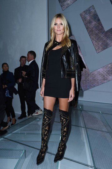 Heidi Klum attends the Versace show during the Milan Fashion Week Womenswear Spring/Summer 2015 on September 19, 2014 in Milan, Italy. (Tullio M. Puglia/Getty Images)