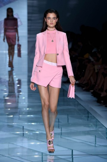 A model walks the runway during the Versace show as a part of Milan Fashion Week Womenswear Spring/Summer 2015 on September 19, 2014 in Milan, Italy. (Tullio M. Puglia/Getty Images)