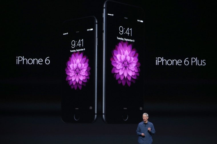 Apple CEO Tim Cook announces the iPhone 6 during an Apple special event at the Flint Center for the Performing Arts on September 9, 2014 in Cupertino, California. Apple is expected to unveil the new iPhone 6 and wearble tech. Justin Sullivan/Getty Images