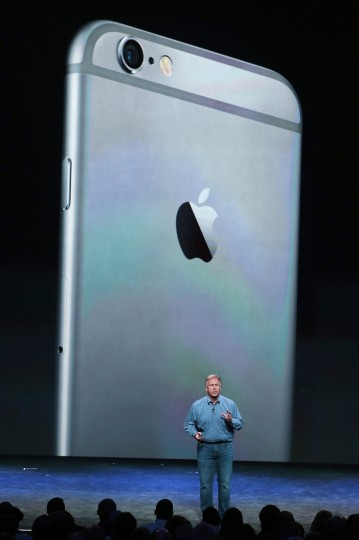 Apple Senior Vice President of Worldwide Marketing Phil Schiller announces the new iPhone 6 during an Apple special event at the Flint Center for the Performing Arts on September 9, 2014 in Cupertino, California. Apple unveiled the two new iPhones the iPhone 6 and iPhone 6 Plus. Justin Sullivan/Getty Images
