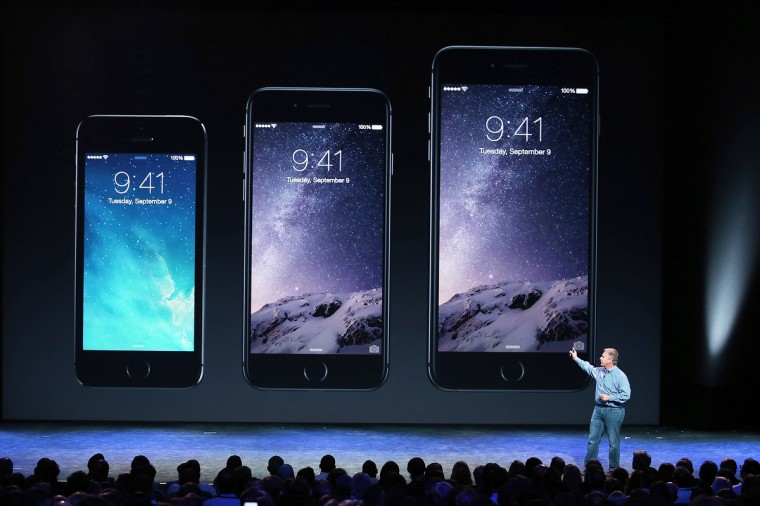 Apple Senior Vice President of Worldwide Marketing Phil Schiller announcees the new iPhone 6 during an Apple special event at the Flint Center for the Performing Arts on September 9, 2014 in Cupertino, California. Apple unveiled the two new iPhones the iPhone 6 and iPhone 6 Plus. Justin Sullivan/Getty Images