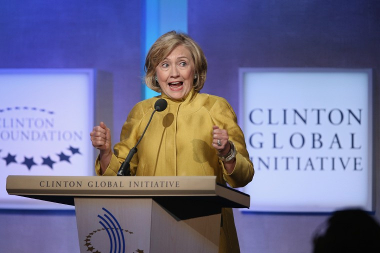 Former U.S. Secretary of State Hillary Clinton speaks during the Clinton Global Initiative (CGI), in New York City. The annual meeting, established in 2005 by President Clinton, convenes global leaders to discuss solutions to world problems. (John Moore/Getty Images)