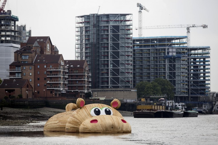 A giant wooden hippopotamus created by Dutch artist Florentijn Hofman floats in the Thames in London. The sculpture named HippopoThames is 21-metre-long (69 feet) and is on display until September 28 as part of the Totally Thames festival. (Jack Taylor/Getty Images)