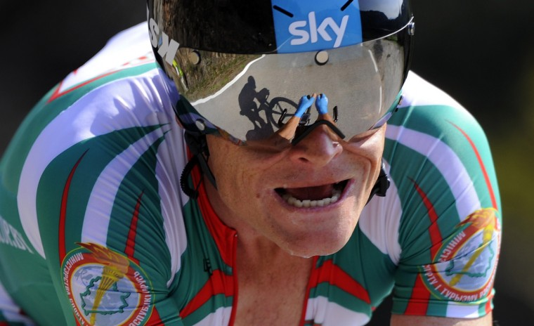 Belarus' Vasil Kiryienka competes in the men's individual time trial at the 2014 UCI Road World Championships in Ponferrada. (Miguel Riopa/Getty Images)