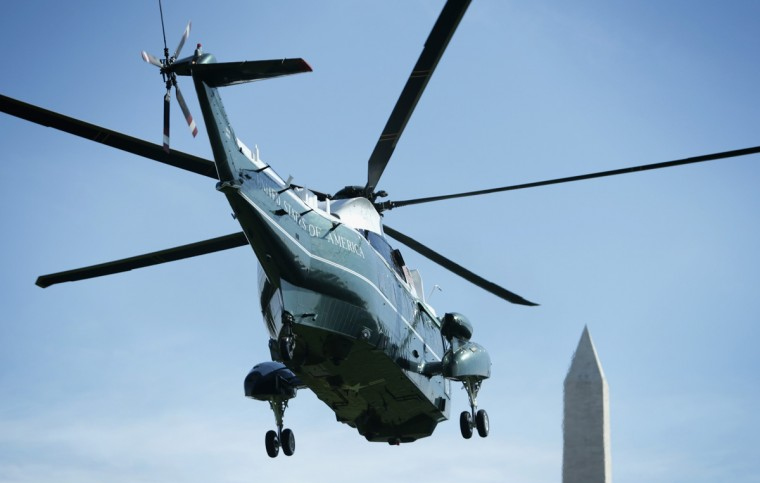 The Marine One, with U.S. President Barack Obama aboard, takes off from the White House September 12, 2014 in Washington, DC. President Obama was traveling to Baltimore, Maryland, to attend a Democratic Senatorial Campaign Committee fund raiser in the evening. (Alex Wong/Getty Images)