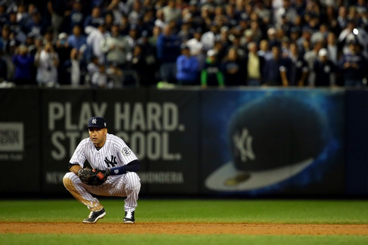 Derek Jeter #2 of the New York Yankees looks on against the Baltimore Orioles during a game at Yankee Stadium on September 25, 2014 in the Bronx borough of New York City. (Al Bello/Getty Images)